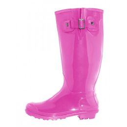 12 Units of Women's 15.5 Inches Water Proof With Buckle Soft Rubber Rain Boots In Fuschia - Women's Boots