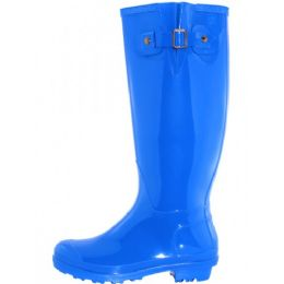 12 Units of Women's 15.5 Inches Water Proof With Buckle Soft Rubber Rain Boots In Royal - Women's Boots