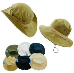 24 Units of Floppy Boonie Hat [solid Colors] SnaP-Up Sides - Cowboy & Boonie Hat