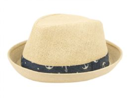 24 Units of Kids Paper Straw Fedora Hats With Band - Fedoras, Driver Caps & Visor