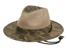 12 Units of YOUTH OUTDOOR CAMOUFLAGE SAFARI HATS WITH MESH CROWN - Fedoras, Driver Caps & Visor
