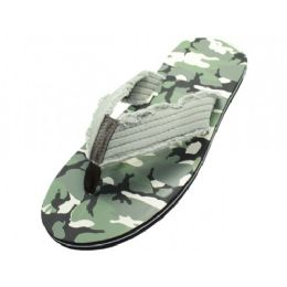 48 Units of Men's Green And Gray Camouflage Flip Flop Sandals - Men's Flip Flops and Sandals