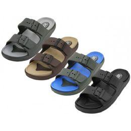 36 Units of Men's Super Soft Double Strap With Side Buckle Upper Sandals - Men's Flip Flops and Sandals