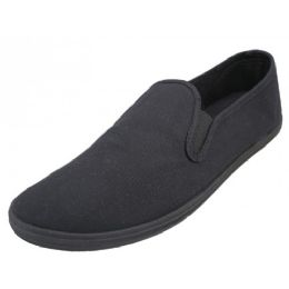 24 Units of Mens Slip On Twin Gore Upper Casual Canvas Shoes In Black - Men's Sneakers