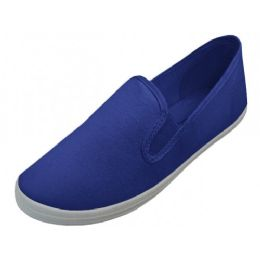 24 Units of Mens Slip On Twin Gore Upper Casual Canvas Shoes In Navy - Men's Sneakers