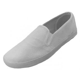 24 Units of Mens Slip On Twin Gore Upper Casual Canvas Shoes In White - Men's Sneakers