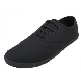 24 Units of Mens Casual Canvas Lace Up Shoes In Black - Men's Sneakers