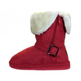 24 Units of Youth's Micro Suede Foldover Boots With Faux Fur Lining And Side Zipper In Dark Red - Girls Boots