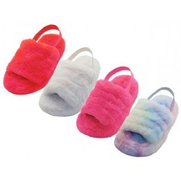 24 Units of Youth's Soft Fuzzy Plush Upper With Elastic Sling Back House Slippers - Girls Slippers