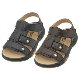 24 Units of Boys Leather Upper Velcro Sandals - Toddler Footwear