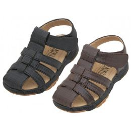 24 Units of Boys Pu Leather Upper Velcro Sandals - Toddler Footwear