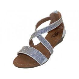 18 Units of Girls Easy Usa Rhinestone Upper Sandals In White - Girls Sandals