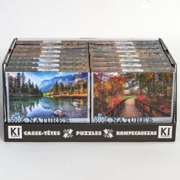 14 Units of Puzzle 500pc Size 11x18.25 Asst Natures Beauty A In 14pc Pdq - Puzzles
