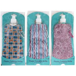 40 Units of Water Bottle 16oz Foldable Asst Designs Pp $1.99 Peggable - Sport Water Bottles