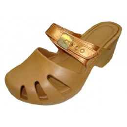 18 Units of Girl's Wedge Clogs In Gold - Girls Flip Flops