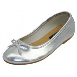 18 Units of Girls Comfortable Ballet Flat In Silver - Girls Shoes
