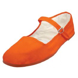 36 Units of Girls Cotton Upper Classic Mary Jane Shoes In Orange - Girls Shoes