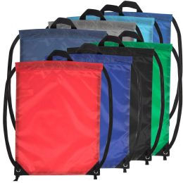 48 Units of 18 Inch Basic Drawstring Bag - 8 Color Assortment - Draw String & Sling Packs
