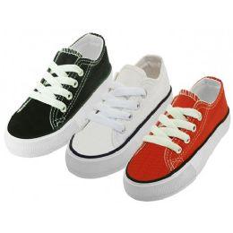 24 Units of Child's Comfortable Cotton Canvas Lace Up Shoe - Unisex Footwear