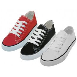 24 Units of Youth's Comfortable Cotton Canvas Lace Up Shoes Assorted - Unisex Footwear