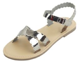 12 Units of Girl's Fashion Sandals In Pewter - Girls Sandals