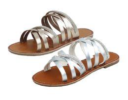 24 Units of Ladies Fashion Sandals In Silver - Women's Flip Flops