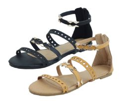 24 Units of Ladies Fashion Sandals In Camel - Women's Sandals