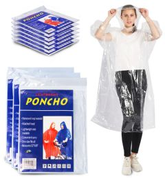 72 Units of Yacht & Smith Adult Unisex Reusable Rain Poncho With Hood (clear) - Event Planning Gear