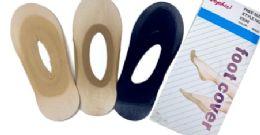 96 Units of Ladies' Foot Cover Sock Nylon One Size In Beige - Womens Slipper Sock