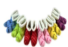 36 Units of Ladies' Slipper Boots With Stripe Design One Size - Womens Slipper Sock