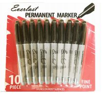 120 Units of Everlast Permanent Marker 10 Pack Black - Markers and Highlighters