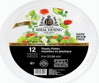 108 Units of Ideal Dining Plastic Plate 9 Inch White 12 Count - Disposable Plates & Bowls