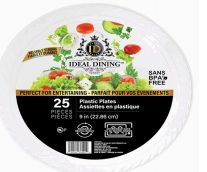 48 Units of Ideal Dining Plastic Plate 9 Inch White 25 Count - Disposable Plates & Bowls