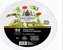 24 Units of Ideal Dining Plastic Plate 9 Inch White 50 Count - Disposable Plates & Bowls
