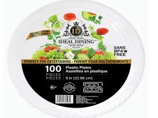 12 Units of Ideal Dining Plastic Plate 9 Inch White 100 Count - Disposable Plates & Bowls
