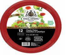 108 Units of Ideal Dining Plastic Plate 9 Inch Red 12 Count - Disposable Plates & Bowls