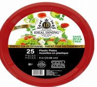 48 Units of Ideal Dining Plastic Plate 9 Inch Red 25 Count - Disposable Plates & Bowls