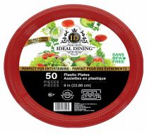 24 Units of Ideal Dining Plastic Plate 9 Inch Red 50 Count - Disposable Plates & Bowls
