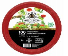 12 Units of Ideal Dining Plastic Plate 9 Inch Red 100 Count - Disposable Plates & Bowls