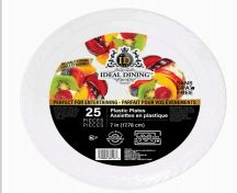 72 Units of Ideal Dining Plastic Plate 7 Inch White 25 Count - Disposable Plates & Bowls