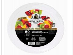 48 Units of Ideal Dining Plastic Plate 7 Inch White 50 Count - Disposable Plates & Bowls