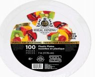 24 Units of Ideal Dining Plastic Plate 7 Inch White 100 Count - Disposable Plates & Bowls