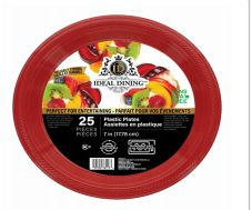 72 Units of Ideal Dining Plastic Plate 7 Inch Red 25 Count - Disposable Plates & Bowls