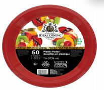 48 Units of Ideal Dining Plastic Plate 7 Inch Red 50 Count - Disposable Plates & Bowls
