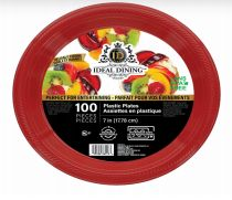 24 Units of Ideal Dining Plastic Plate 7 Inch Red 100 Count - Disposable Plates & Bowls