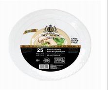 72 Units of Ideal Dining Plastic Bowl 12 Inch White 25 Count - Disposable Plates & Bowls