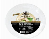 24 Units of Ideal Dining Plastic Bowl 12 Inch White 100 Count - Disposable Plates & Bowls