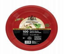 24 Units of Ideal Dining Plastic Bowl 12 Inch Red 100 Count - Disposable Plates & Bowls