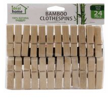 96 Units of Ideal Home Bamboo Clothes Pin 24 Count Jumbo - Clothes Pins