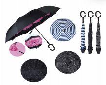 24 Units of Drops Umbrella Double Layer Reverse Printed - Umbrellas & Rain Gear